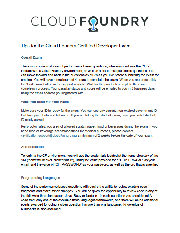 Cloud Foundry Certification - Cloud Foundry Training | Cloud Foundry